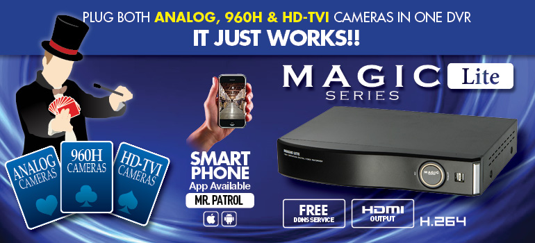 Magic Lite Series : plug both analog & HD-SDI cameras in one dvr. It just works!! / Smartphone Compatible / CatchEye apps available both iPhone & Android phones / Free DDNS service / HDMI Output / H.264